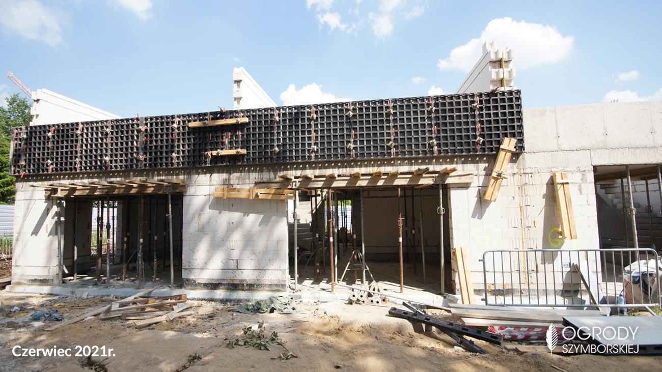 Czerwiec 2021r. - zdjęcia z budowy inwestycji Ogrodów Szymborskiej, Wojszyce Krzyki Wrocław