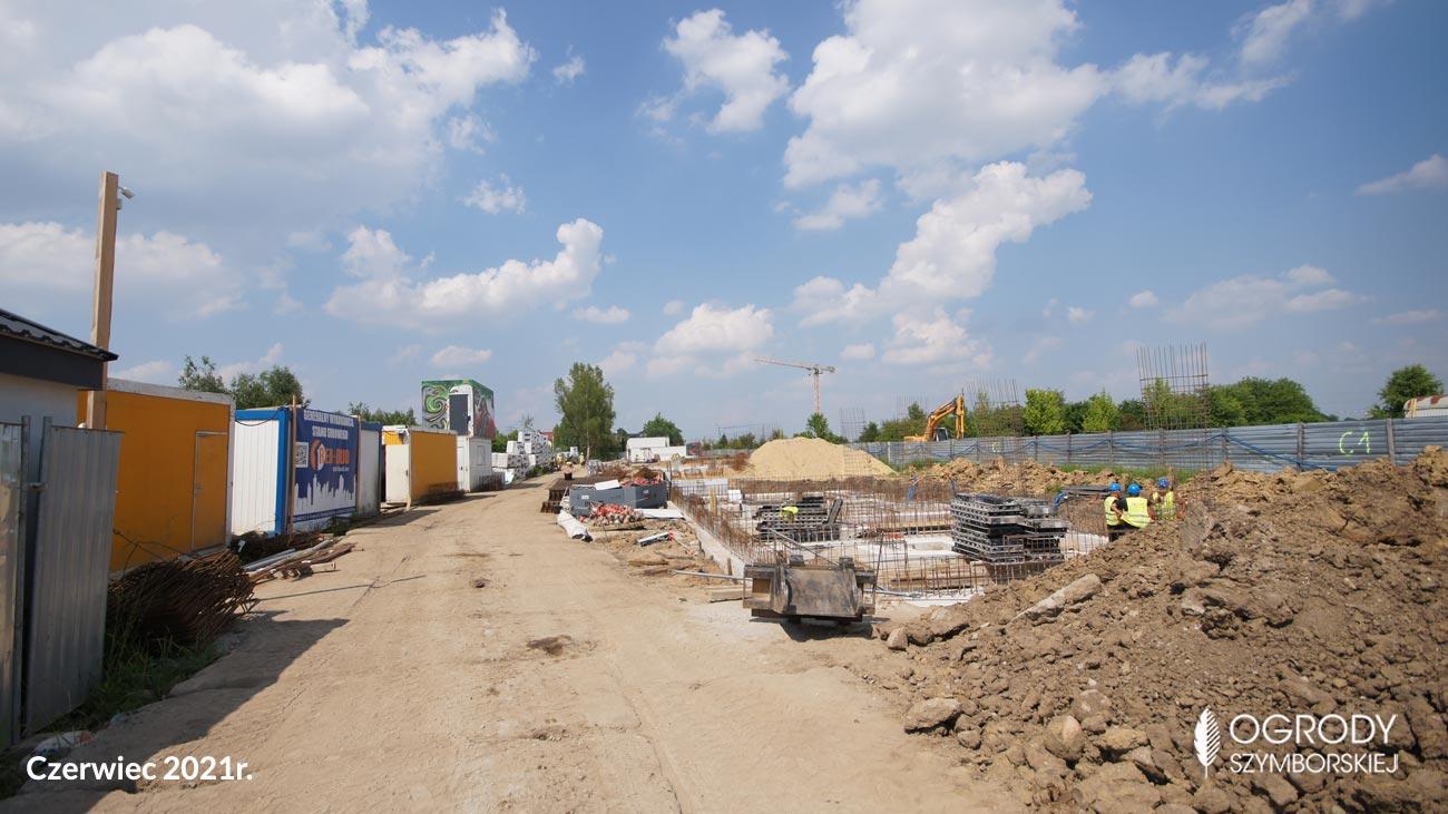 Czerwiec 2021r. -  budowa inwestycji mieszkaniowej Ogrodów Szymborskiej