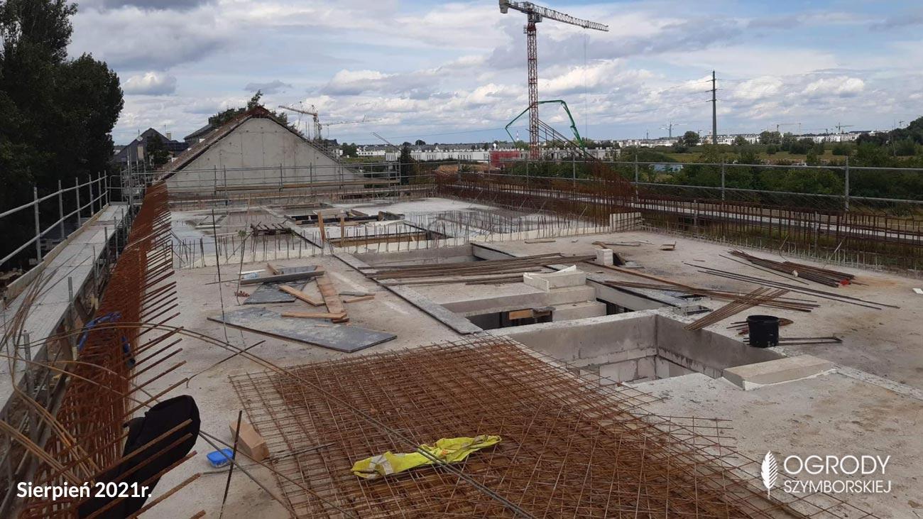 Sierpień 2021r. - zdjęcia z budowy inwestycji Ogrodów Szymborskiej, Wojszyce Krzyki Wrocław